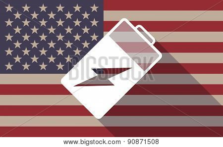 Usa Flag Icon With A Battery
