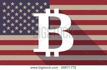 Usa Flag Icon With A Bitcoin Sign