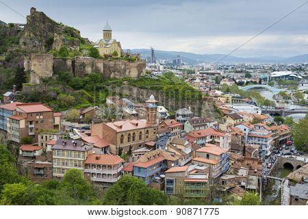 TBILISI, GEORGIA - MAY 01, 2015: Panoramic view of Tbilisi