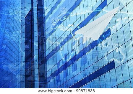 Plane Paper With Financial Chart On Tower, Global Success Business Concept, Elements Of This Image F
