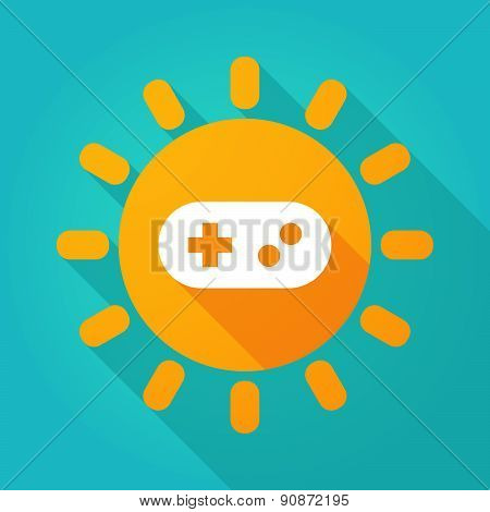 Long Shadow Sun Icon With A Game Pad
