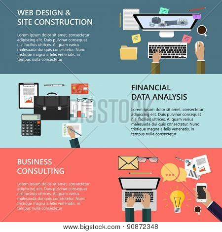 Modern concepts collection in flat design for e-business, web site construction, mobile applications, banners, corporate brochures, book covers, layouts etc. Raster illustration