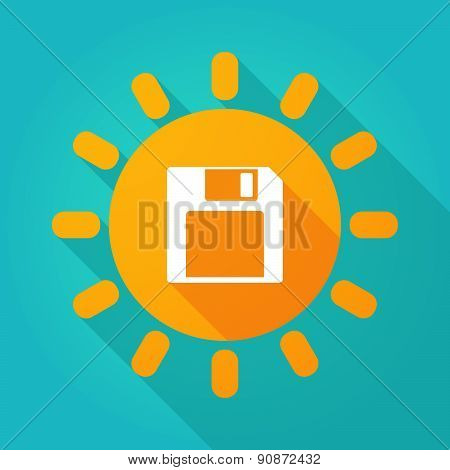 Long Shadow Sun Icon With A Floppy Disk