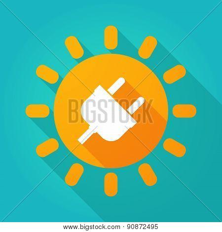 Long Shadow Sun Icon With A Plug