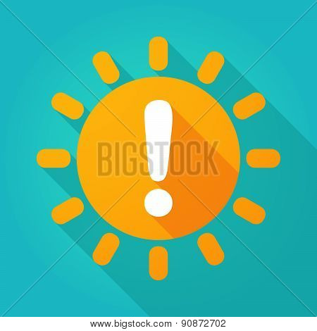Long Shadow Sun Icon With An Exclamation Sign