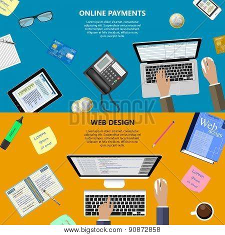 Modern flat design web design and online payments concept for e-business, web sites, mobile applications, banners, corporate brochures, book covers, layouts etc. Raster illustration