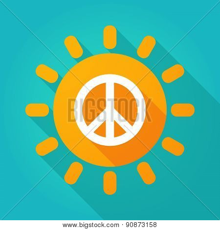 Long Shadow Sun Icon With A Peace Sign
