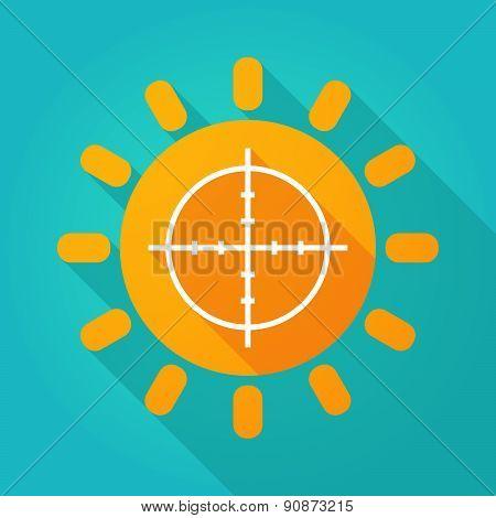 Long Shadow Sun Icon With A Crosshair