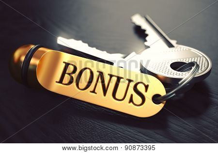 Bonus - Bunch of Keys with Text on Golden Keychain.