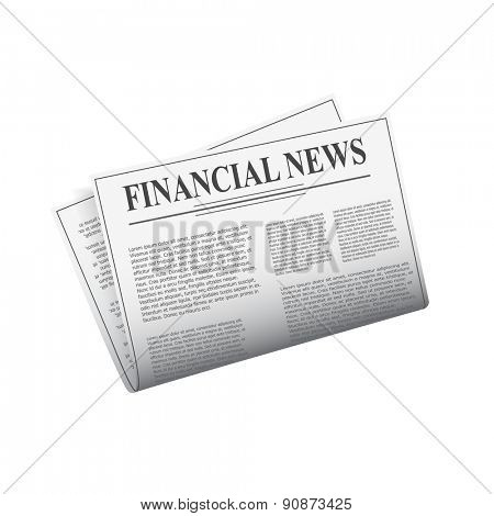 Detailed newspaper isolated on white background for e-business, web sites, mobile applications, banners, corporate brochures, book covers, layouts etc. Raster illustration