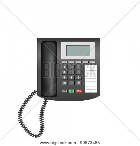 Detailed telephone isolated on white background for e-business, web sites, mobile applications, banners, corporate brochures, book covers, layouts etc. Raster illustration