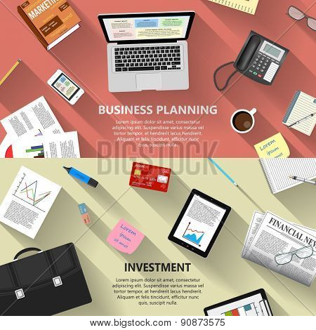 Modern flat design business planning and investment concept  for e-business, web sites, mobile applications, banners, corporate brochures, book covers, layouts etc. Raster illustration