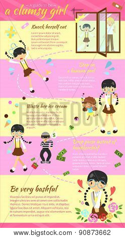 A Guide To Be A Clumsy Girl Infographic Template Layout Design With Sample Text Version 2, Create By