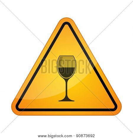 Danger Sign Icon With A Wineglass