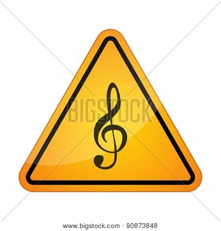 Danger Signal Icon With A G Clef