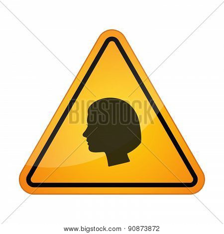 Danger Signal Icon With A Female Head