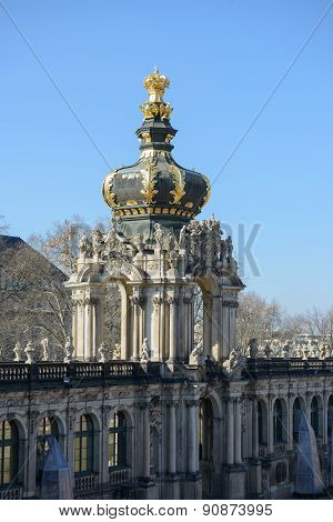 View Of Crown Gate From South-eastern Terrace, Zwinger, Dresden, Germany.