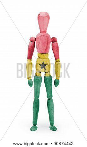 Wood Figure Mannequin With Flag Bodypaint - Ghana