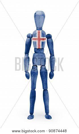 Wood Figure Mannequin With Flag Bodypaint - Iceland