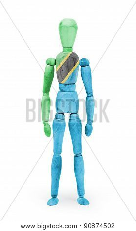 Wood Figure Mannequin With Flag Bodypaint - Tanzania