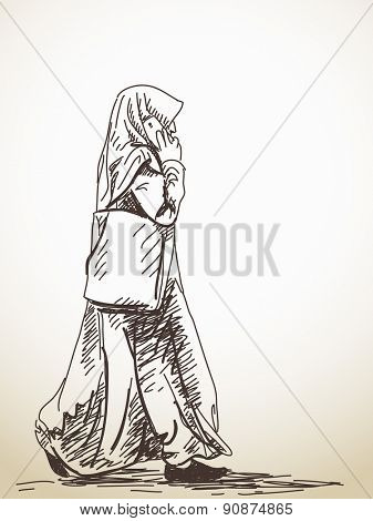 Sketch of walking muslim woman with smart phone Hand drawn illustration
