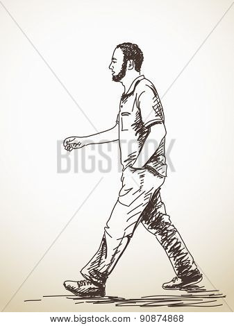 Sketch of walking young Man Hand drawn illustration