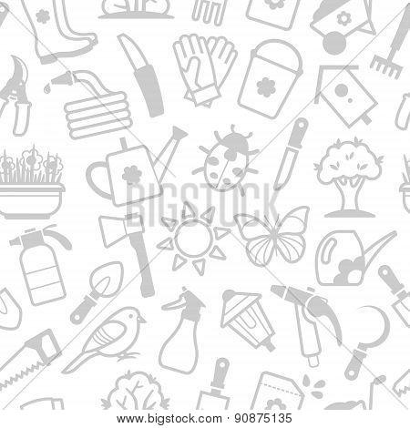 Vector white pattern of garden accessories