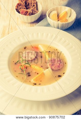 Vintage Photo Of Borscht With Eggs And White Sausage