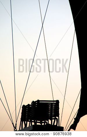 Silhouette Of Burner In Hot Air Balloon