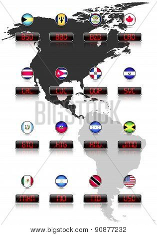Countries flags with official currency symbols, North and Central America