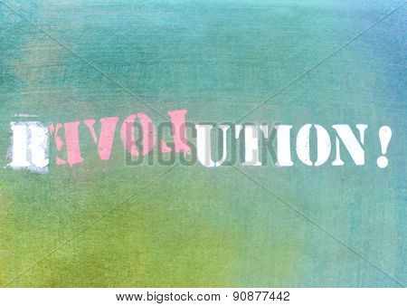 Revolution - Love Graffiti Logo On Textured Wall