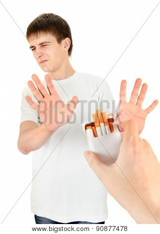 Young Man Refuse A Cigarettes
