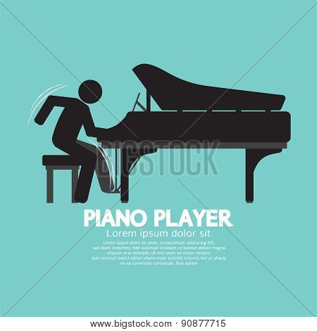 Black Symbol Piano Player.