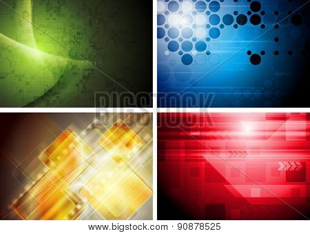 Set of abstract technology geometric backgrounds. Raster art design