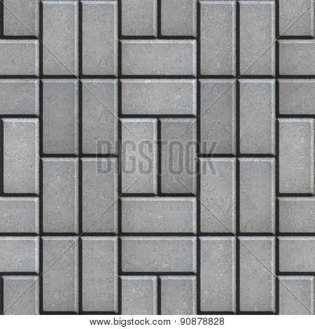 Gray Pave Slabs Rectangles Laid out in a Chaotic Manner.