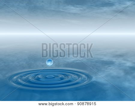 Concept or conceptual blue liquid drop falling in water with ripples and waves background