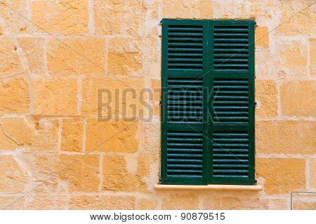 Alcudia Old Town mediterranean wood window shutters Mallorca Balearic island of Spain
