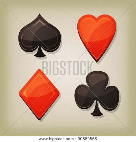 Vintage Retro Gambling Cards Icons