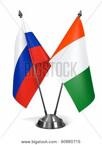 Russia and  Ivory Coast - Miniature Flags.