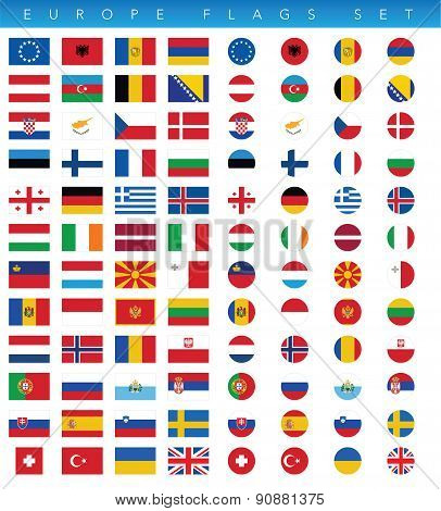 Europe Flags Set