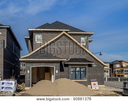 Suburban estate home under construction