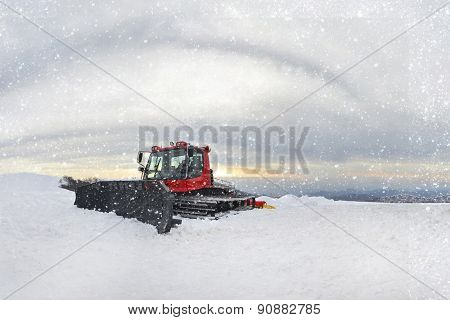 Stock Photo - Tractor Cleaning Snow Outdoors
