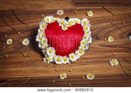 Greeting Card Of Heart With Marguerites And Butterflies On Wooden Board