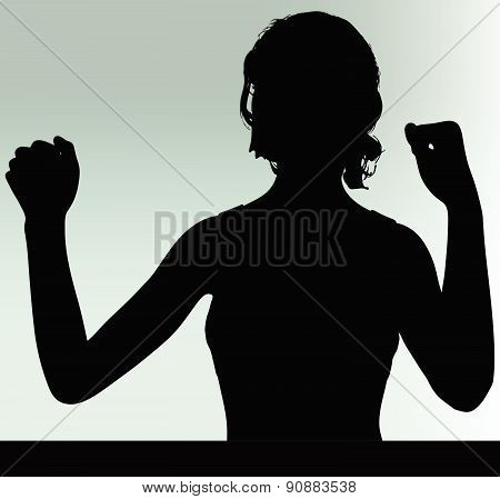 Woman Silhouette With Hand Gesture Power And Might