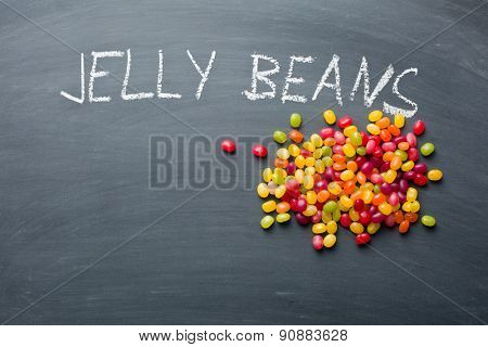 the jelly beans on chalkboard
