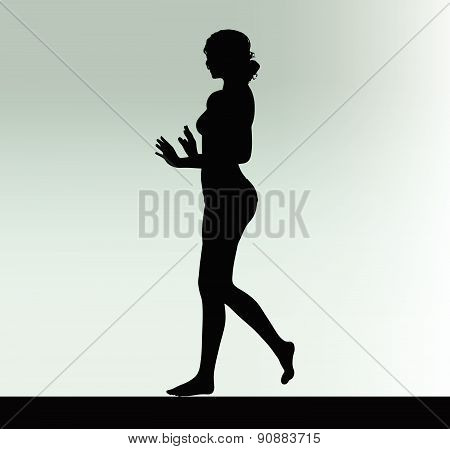 Woman Silhouette With Hand Gesture Push Or Stop