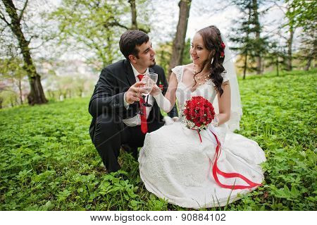 Wedding Couple Sit In Green Grass