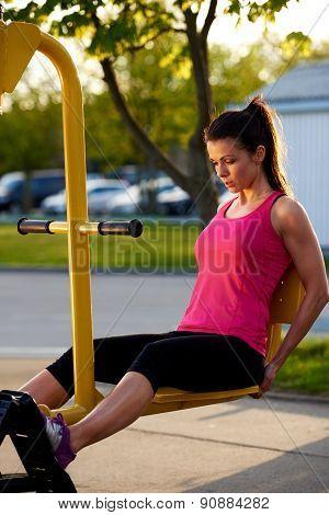 Full Length View Of Woman Doing Leg Exercises.