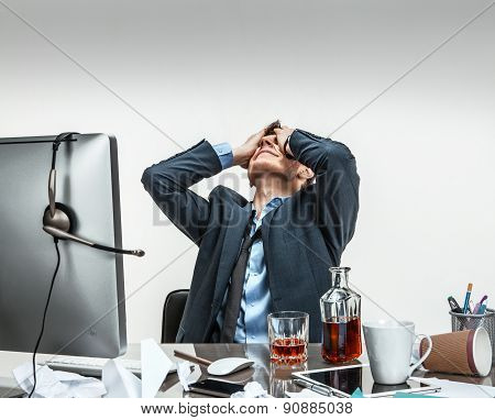 Oh My Good, Stressed Businessman Is Taken For The Head / Modern Office Man At Working Place, Depress