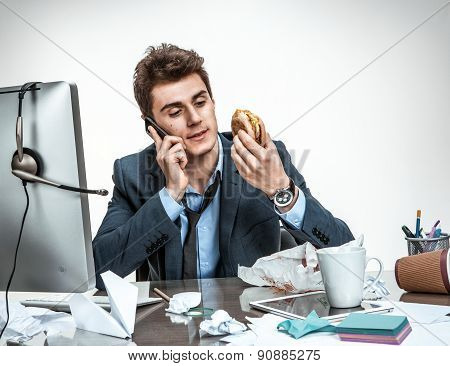 Slacker Man Talking On The Phone While Eating At Work / Modern Office Man At Working Place, Sloth An